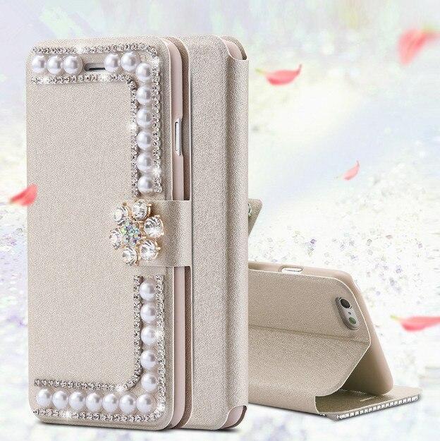 Lüks Bling taklidi inci cüzdan deri kapak kılıfı iphone 11 Pro MAX X XR XS MAX 5S SE 6 6S 6S artı 7 7 artı 8 8 artı