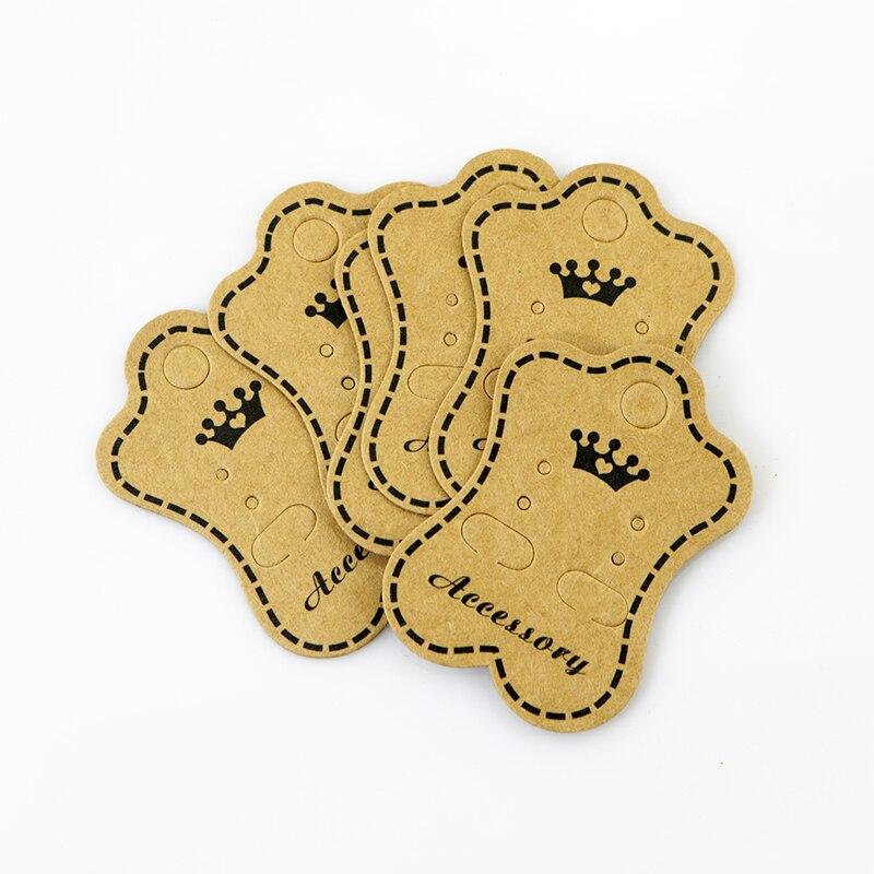 200pcs profesional de papel Kraft pendiente pendientes titular de pantalla colgar tarjetas de tarjeta de embalaje etiquetas puede imprimir logotipo personalizado