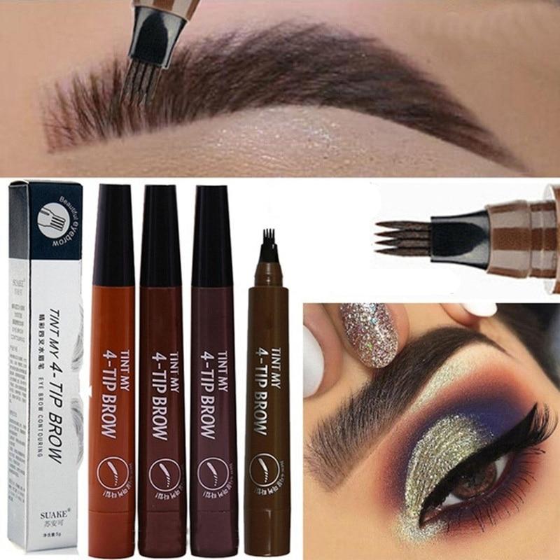 2019 NEW Eyebrow Pen Eye Makeup Waterproof 4 Fork Portable Beauty Tool for Women Lady