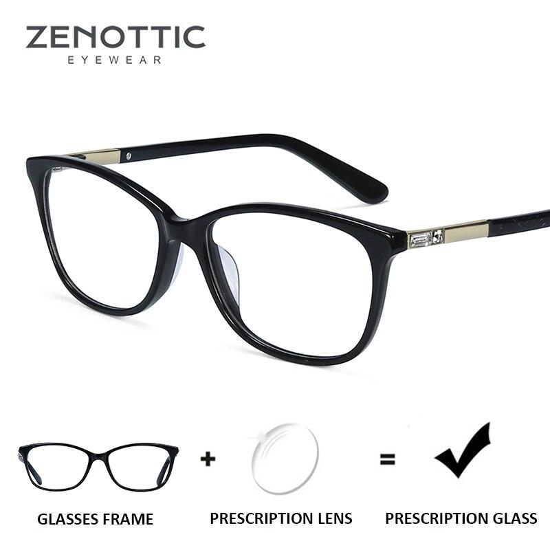 Gafas de prescripción de montura azul ZENOTTIC para mujer, gafas fotocromáticas para miopía e hipermetropía, gafas fotocromáticas con protección de rayos azul para mujer