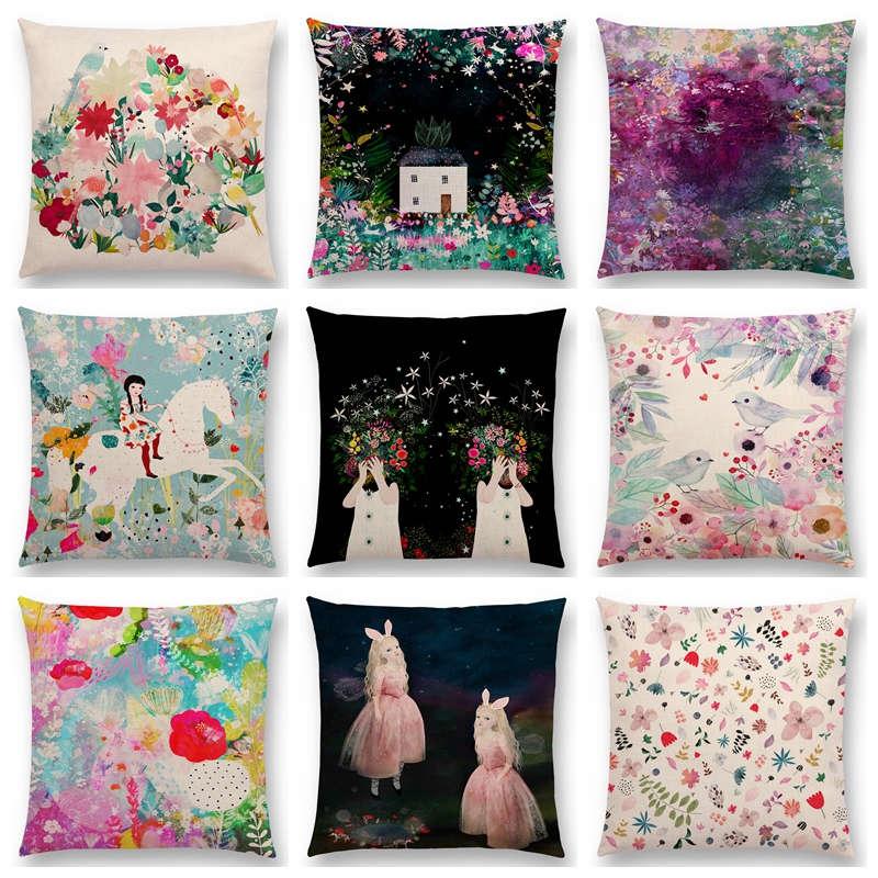 Venta caliente adorable chica flores hoja árbol Floral patrón sueño jardín fantasía noche gato ciervo pájaro gato cojín sofá tiro almohada