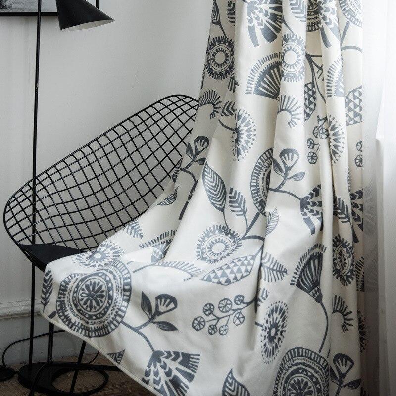 Nuevas cortinas para sala de estar, cortinas de lino de colores a juego Ins viento nórdico moderno conciso para dormitorio balcón cortina estampada