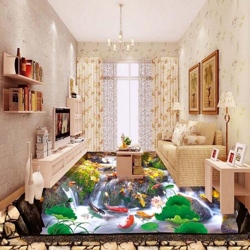 Envío Gratis HD Park Stone Creek carpa paisaje cascada etiqueta engomada del piso autoadhesiva PVC papel pintado de suelo mural