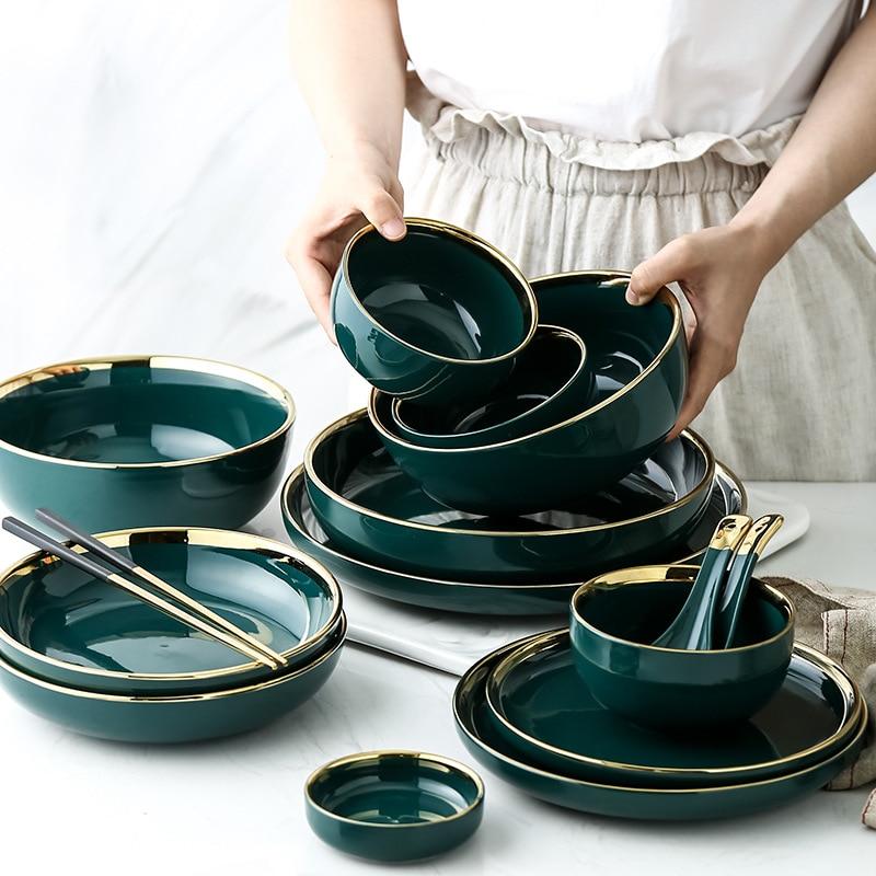 Керамическая тарелка зеленого цвета с золотыми инкрустацией, тарелка для приготовления еды, тарелка в скандинавском стиле, посуда, миска Ин...