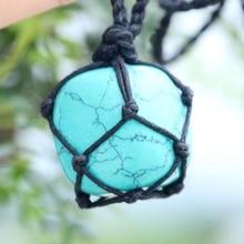 Pierre naturelle hommes collier fil chanvre Wrap pendentif macramé Boho bijoux B61 25*26mm forme irrégulière