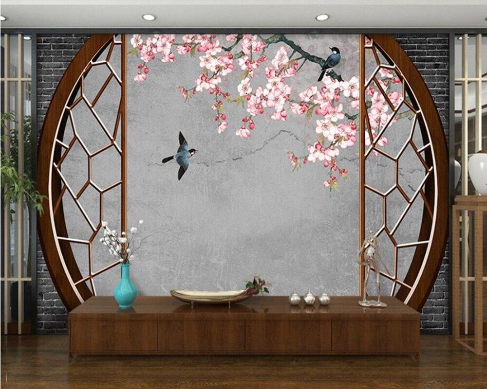 Flor china y pájaro papel tapiz 3d mural papel de pared Sala sofá Pared de TV cocina papeles tapiz decoración del hogar restaurante