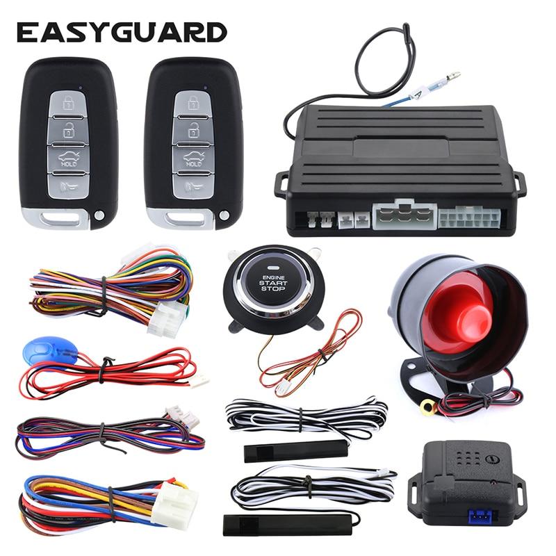 EASYGUARD PKE Автомобильная сигнализация с дистанционным запуском двигателя автозапуск ключа Универсальная автомобильная shock предупреждающая нажать кнопку автотовары автосигнализация