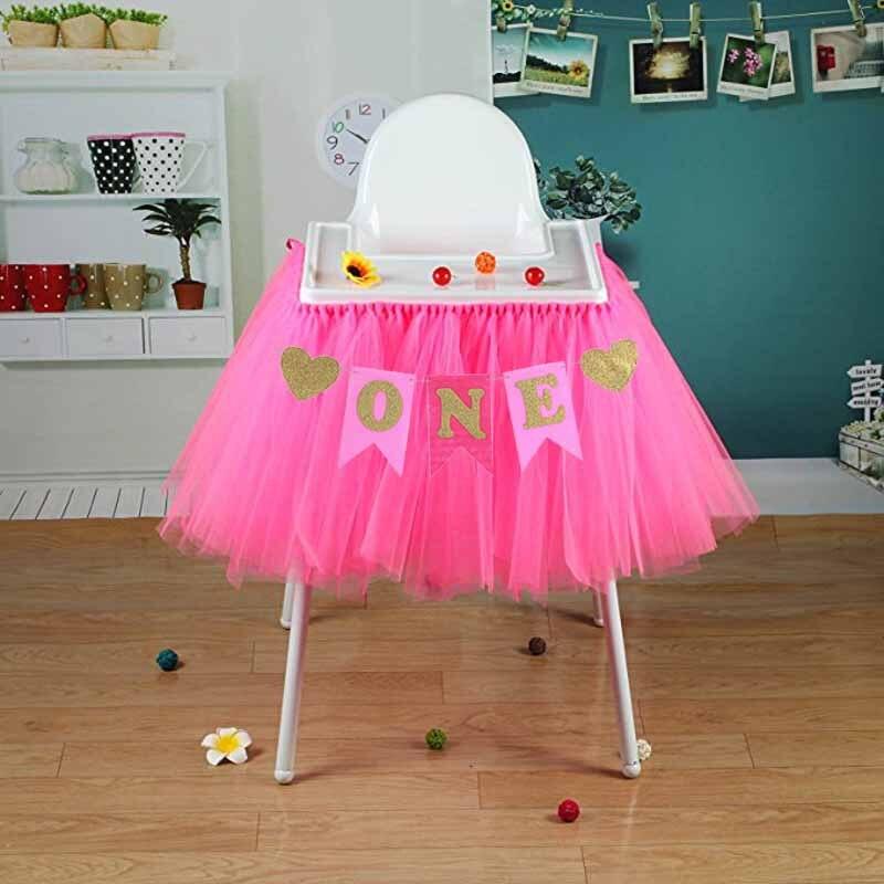 Glitter One banner Pennant High Chair Baby Shower kids boys girls First Birthday Party Highchair Decoration Favor pink blue