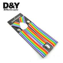 Women Men'S Shirt Suspenders For Trousers Pants Holder Clip-on Braces Elastic 3.5cm Wide Rainbow Striped Y-back Braces Gallus