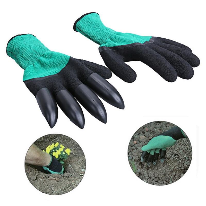 Garden Gloves with Claws 4 ABS Plastic Garden Rubber Gloves Gardening Digging Planting Durable Waterproof Work Glove Outdoor
