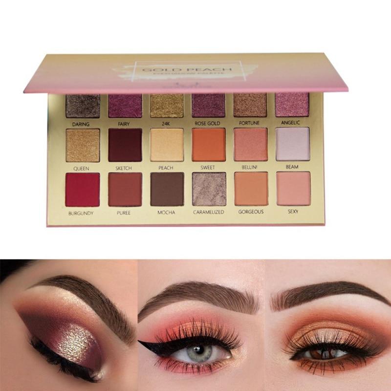 18 colores cosméticos impermeables paleta de sombras de ojos Nude Shining Makeup Glitter pigmento Smoky paleta de sombras para ojos