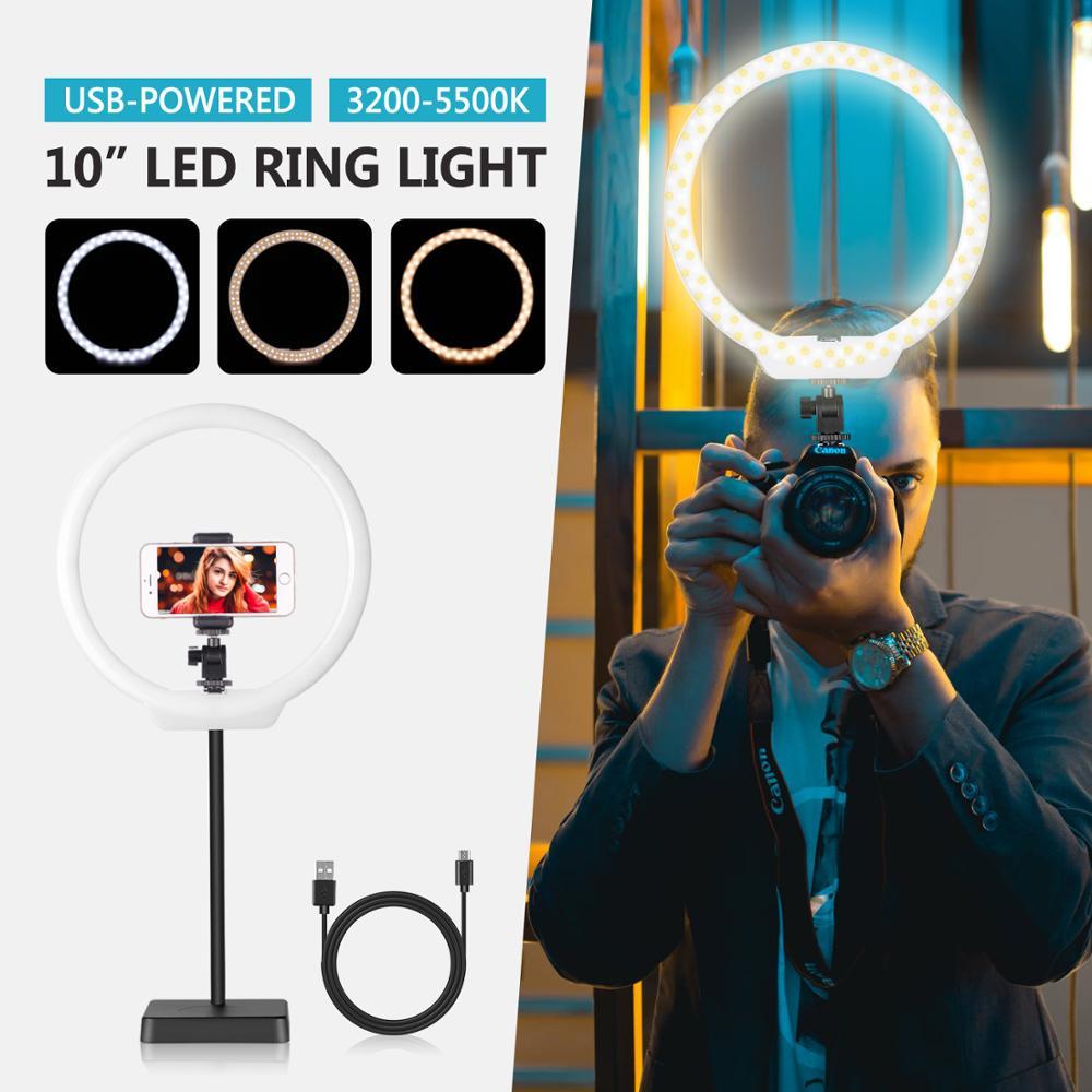 Neewer 10 pulgadas Anillo de luz LED alimentado por USB en la luz de la cámara con Base de soporte, tubo suave, pinza para móvil para YouTube, maquillaje