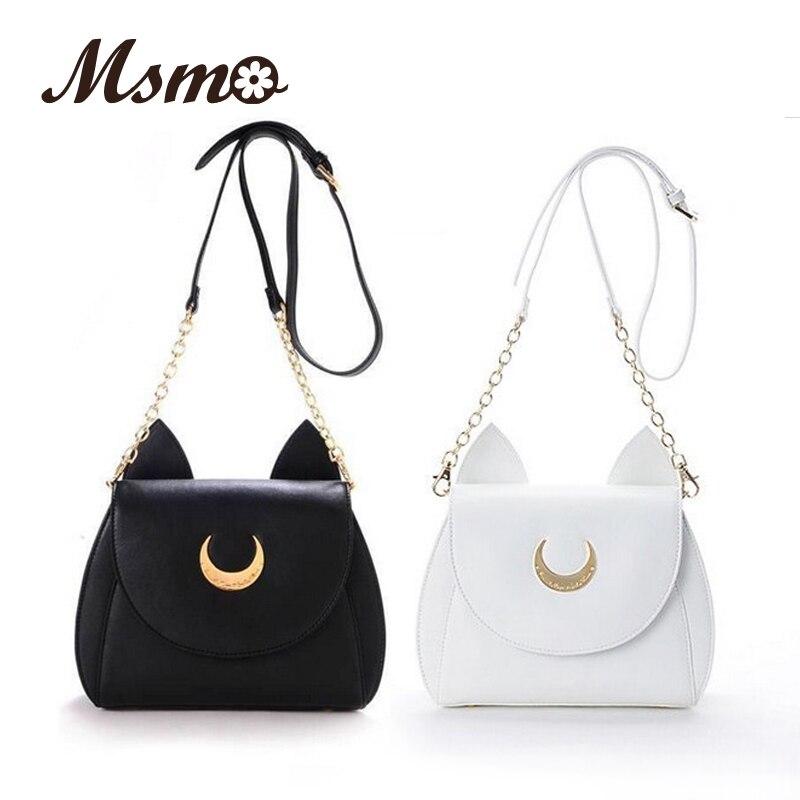 Bolso de hombro MSMO Blanco/Negro Sailor Moon Luna/Artemis bolso de mano de cuero para mujer con diseño de gato y Luna, bandolera, Bolso pequeño