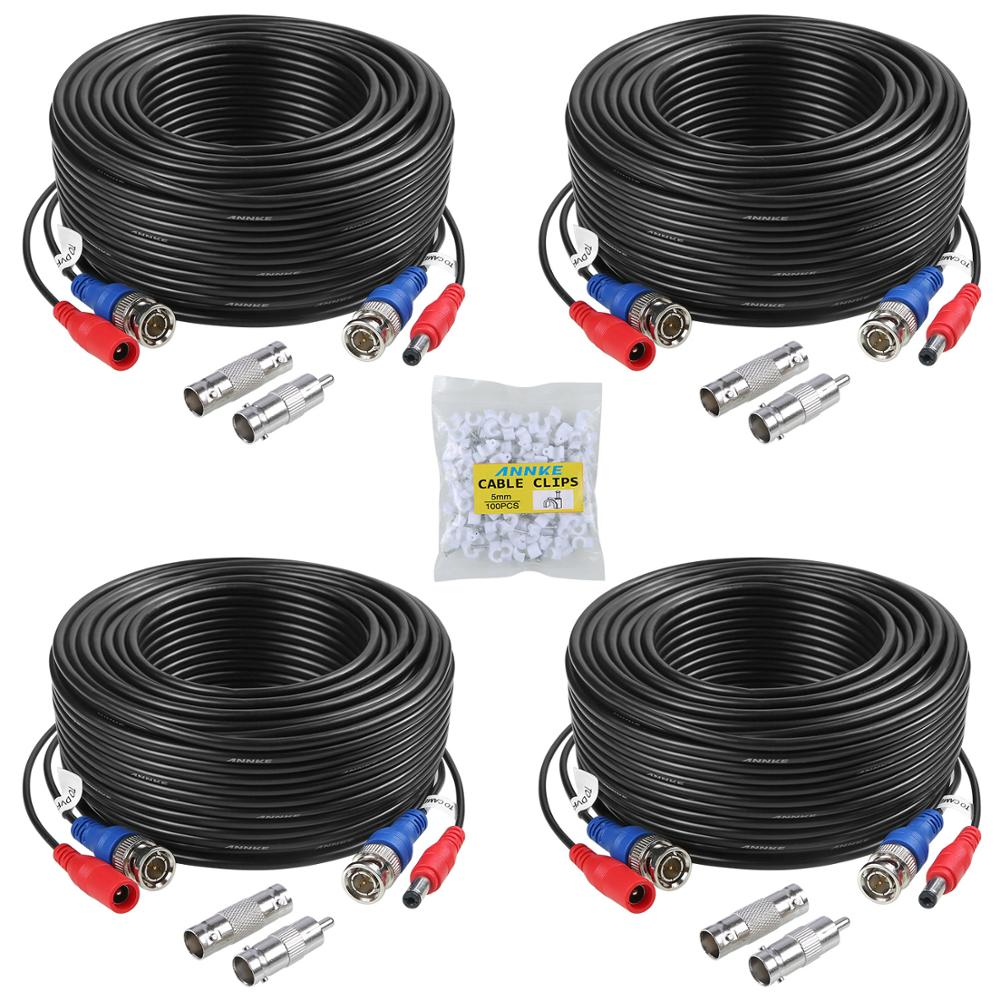 ANNKE 4PCS A Lot 30M 100 Feet BNC Video Power Cable For CCTV AHD Camera DVR Security System Black Su