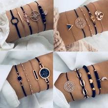 DIEZI Bohème Noir chaîne de perles Bracelets Bracelets Pour Femmes De Mode Coeur Compass Couleur Or Chaîne Bracelets Ensembles Bijoux Cadeaux