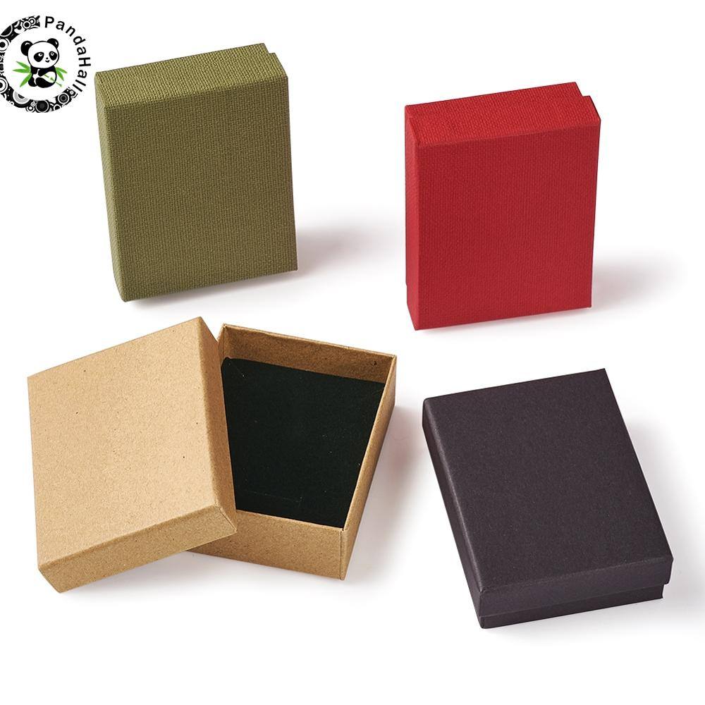 12pcs Cardboard Jewelry Set Gift Box Ring Necklace Bracelets Earring Gift Packaging Boxes With Spong