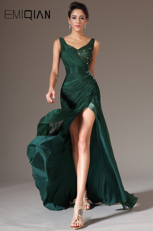 Tank Evening Gown,Mermaid Evening Gown,New V Neck Evening Dress, Green Chiffon Formal Evening Dress 32427995092 фото