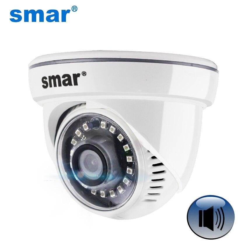 Mini HD 720P 960P IP cámara de entrada de Audio con micrófono de recogida externa seguridad interior Domo IP Cámara ONVIF P2P 18 Nano IR LEDS