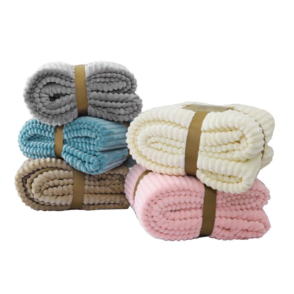 Jagdambe listrado flanela cobertores para camas sólido coral velo jogar inverno roupa de cama sofá capa colcha macio cobertores macios