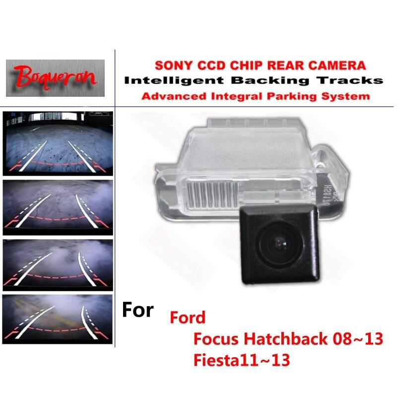 Para Ford Focus Hatchback 08 ~ 13 Fiesta 11 ~ 13 cámara CCD de aparcamiento de respaldo de coche pistas inteligentes guía dinámica cámara de visión trasera