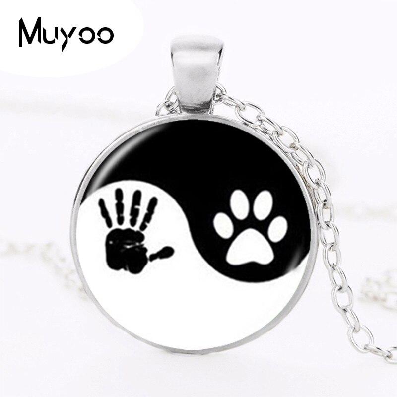 Yin Yang Necklace Pet Paw Print Pendant Handprint Art Necklace Tai Ji Jewelry for Animal Lover Pet Lover Cat Dog Birthday HZ1