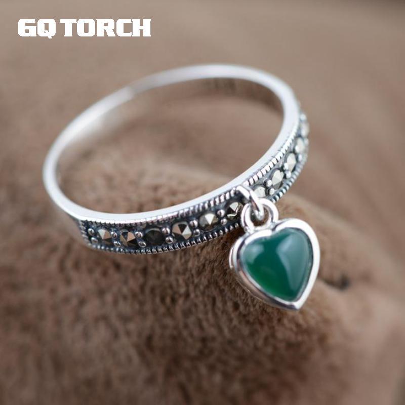 GQTORCH anillos de ágata de Plata de Ley 925 joyería de plata con incrustaciones de rojo y verde Vintage Natural piedra anillos para las mujeres
