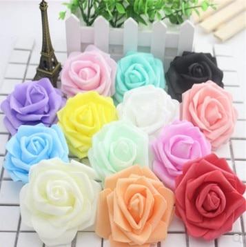 50pcs Multicolor Foam Rose Flower Head Artificial Rose Bouquet Handmade Wedding Home Decoration Festive Party scrapbook 6CM недорого
