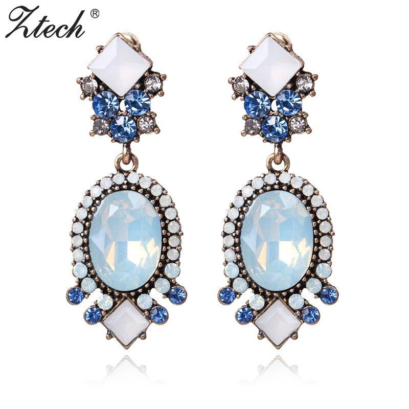 Ztech 2020 nuevos 4 colores flor Gran Marca Diseño lujo colgante de estrella cristal gema pendientes llamativos bisutería regalos