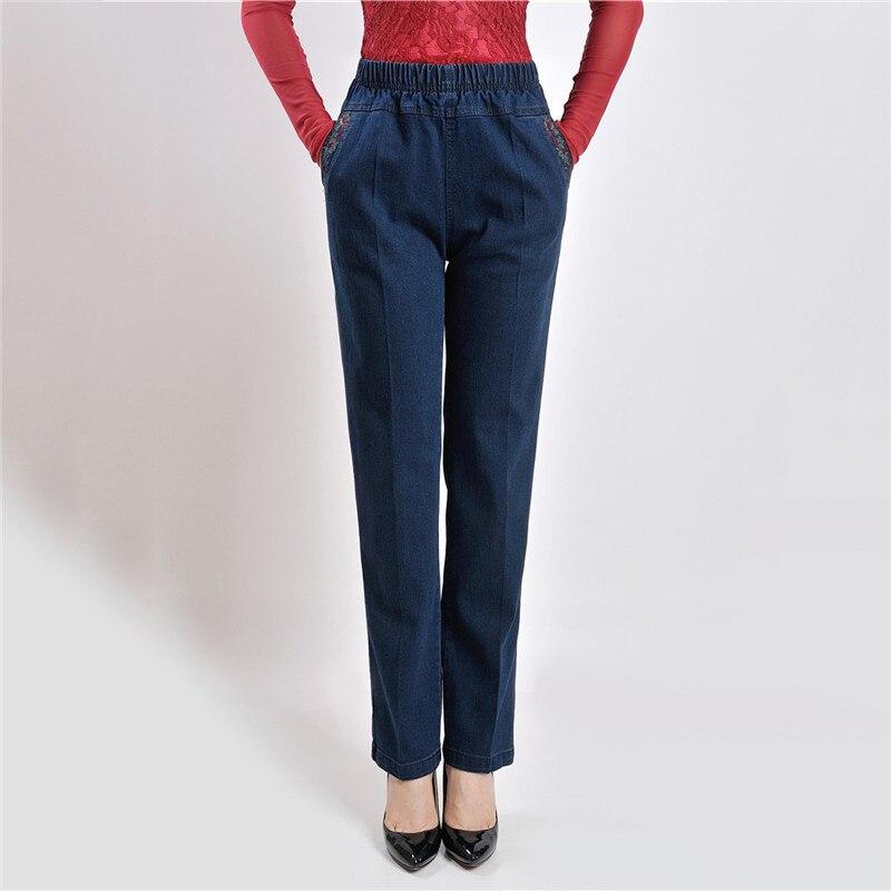 Mamá Jeans azul cintura alta suelta XL-5XL de talla grande Jeans 19 nueva primavera bolsillos con bordado Jeans rectos MEDIADOS DE EDAD Pantalones de mujer JD46
