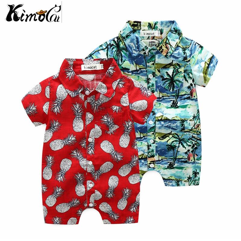 Kimocat Summer beach baby boy handsome  short-sleeved cotton pineapple printed shirt jumpsuit