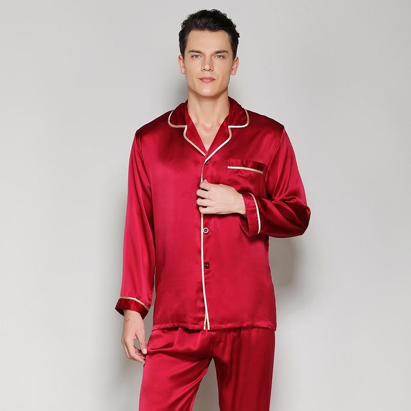 mens silk pajama sets2019solid color brand new fashion red blue 100% stain sleepwears male sleep&lounge pajamas plus size