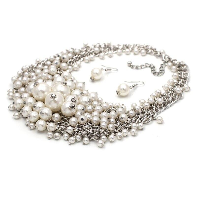 Conjuntos de joyería Bohemia perlas de imitación multicapa con cuentas babero Maxi Collares accesorio de pendientes mujeres Collares Mujer Regalos M2301