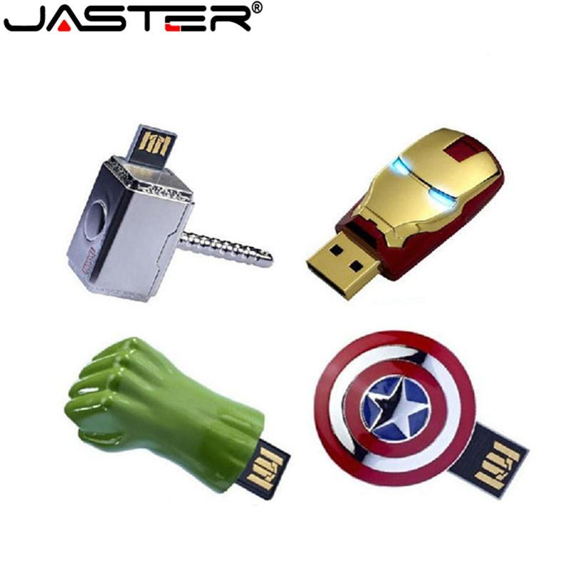 JASTER los Vengadores de Metal capitán americano hulk USB Flash Drive Iron Man pendrive 32GB 16GB 8GB 4GB Flash unidades de memoria extraíble