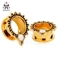 2017 new gold ear piercing stainless steel ear plugs fake opal tunnels screw back design pair selling 2pcs lot