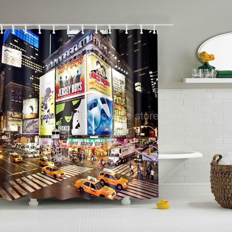 Neon Twinkling Night City Design Custom Shower Curtain Bathroom Waterproof Mildewproof Polyester Fabric With 12 Hooks