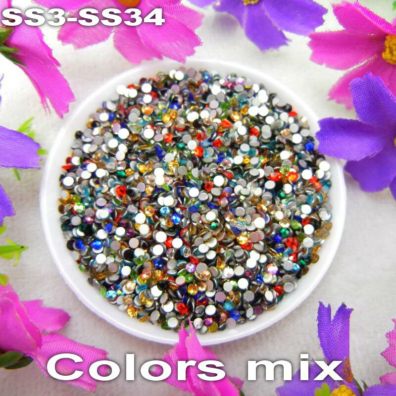 Glass Non hotfix SS3 SS4 SS5 SS6 SS8 SS10 SS12 SS16 SS20 SS30 SS34 colors Mixed Glue on Flat Back Rhinestones for Nail Art diy