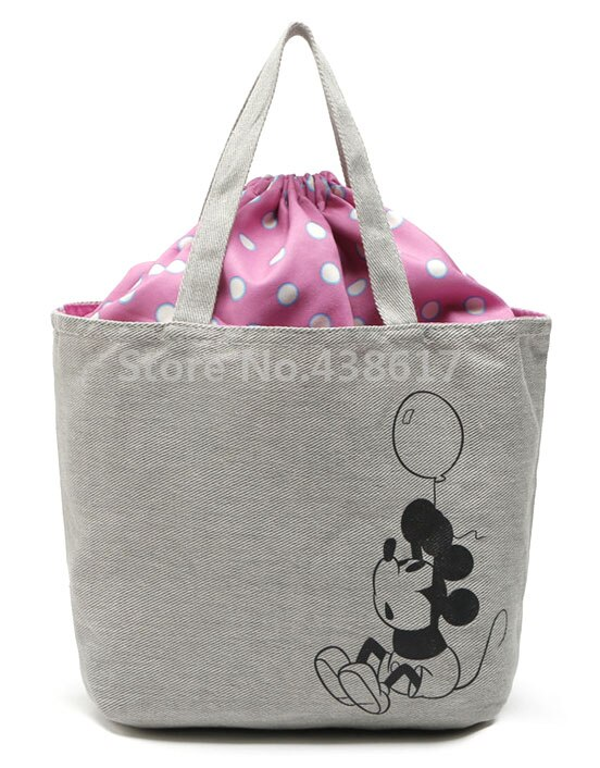 Cute Minnie Retro Canvas Drawstring Handbag Kids Lunch Bag for Women Girls Tote Lunch Box Bags Picnic Food Bag