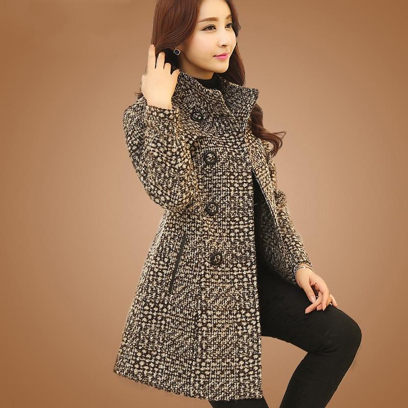 New Women's Wool Blends Coat Winter 2021 Autumn Fashion Elegant Mother Turtleneck Plaid Slim Long Tweed Woolen Outerwear Female