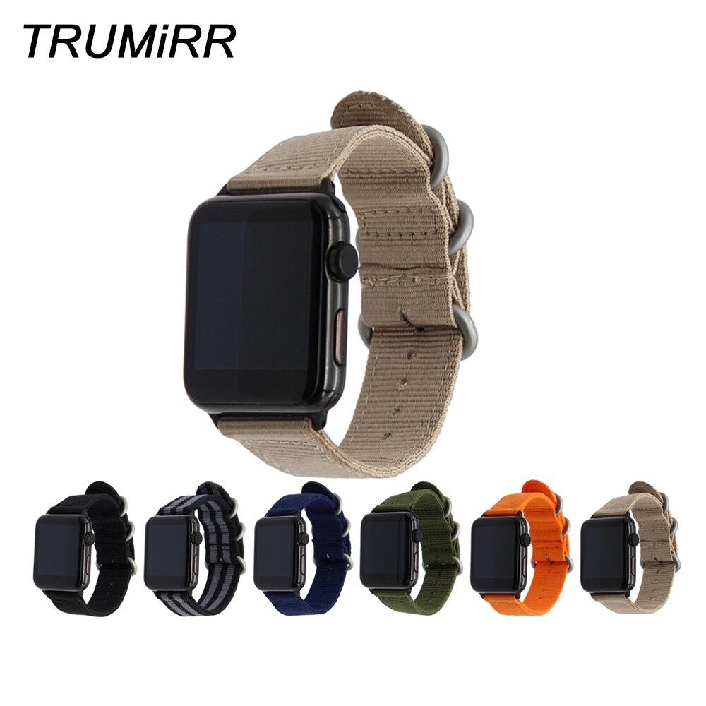 Nylon Watchband for iWatch Apple Watch 38mm 40mm 42mm 44mm Series 5 4 3 2 1 Steel Zulu Ring Band Fabric Strap Wrist Bracelet