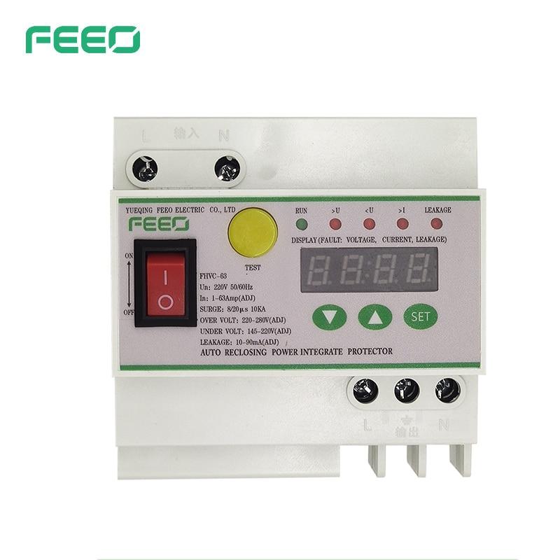 FEEO-مفتاح تسرب تلقائي 1-63 أمبير ، حماية ضد التسرب ، شاشة رقمية ، 145-280 فولت ، حماية من البرق ، الجهد الزائد