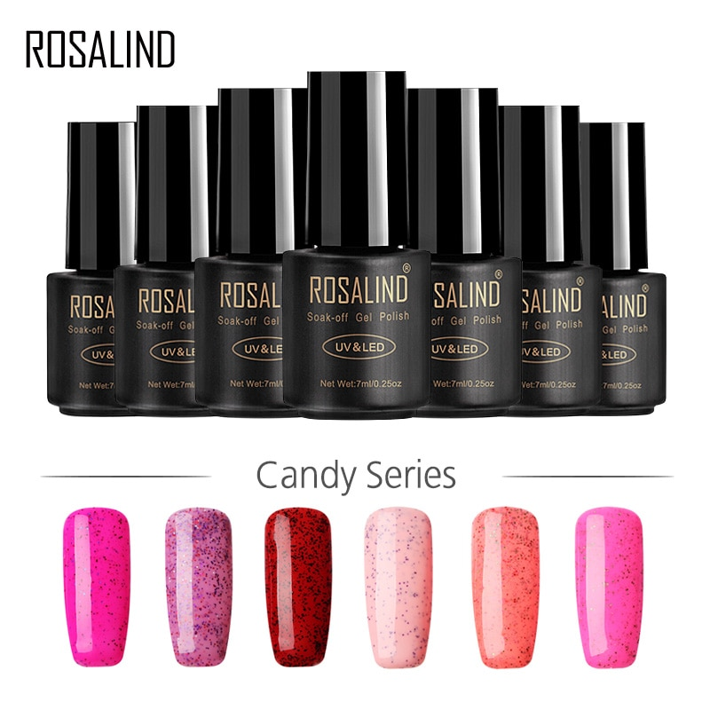 ROSALIND Gel 1S Black Bottle 7ML Candy Bling D01-24 Gel Nail Polish Nail Art UV LED Glitter Soak-Off Gel Varnish Manicure Art