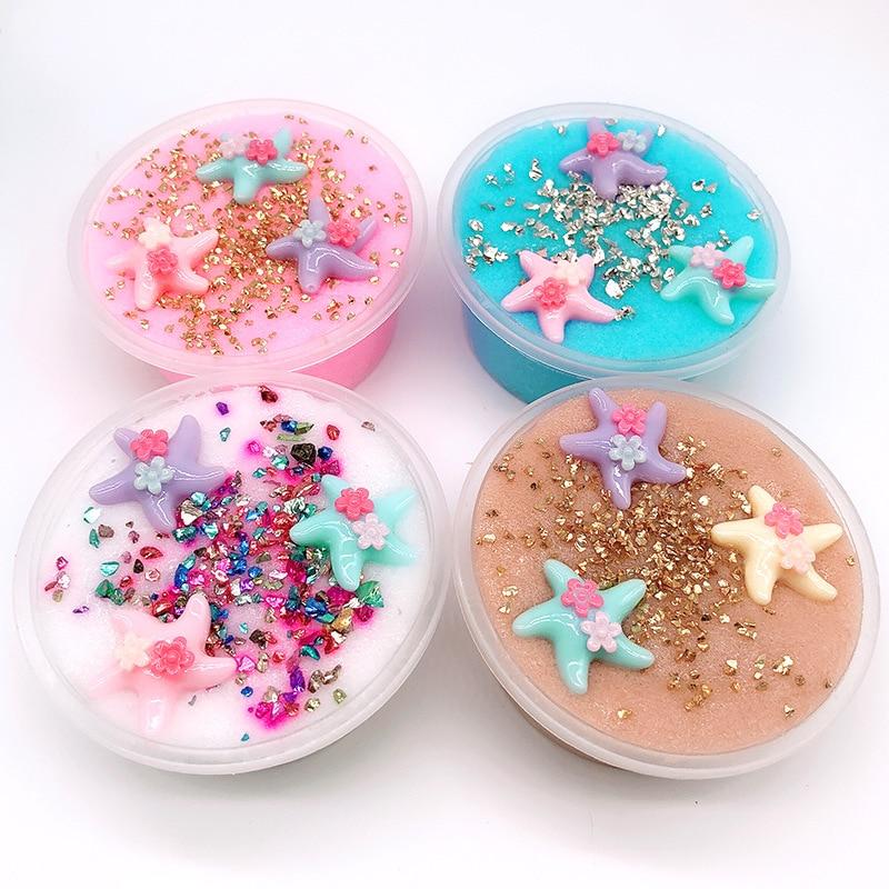60 ML DIY Baumwolle Schleim Ton Starfish Kinder-Ton Spielzeug 3D Flauschigen Schaum Schleim Duftenden Stress Relief Handwerk Schlamm Spielzeug anti-stress-
