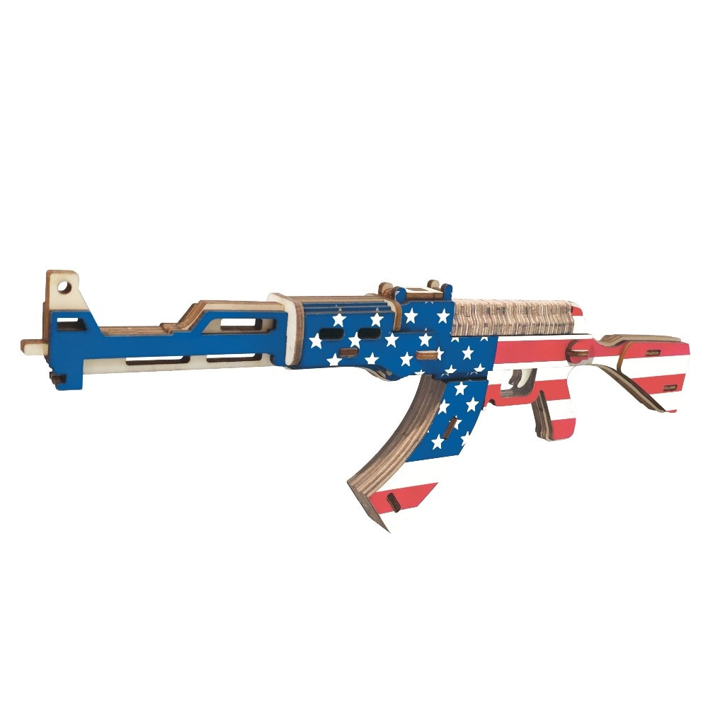 Rompecabezas de madera 3D, pistola de juguete, arma militar, AK-47 de corte por láser, Kit de ensamblaje de madera educacional para niños, juguetes para niños