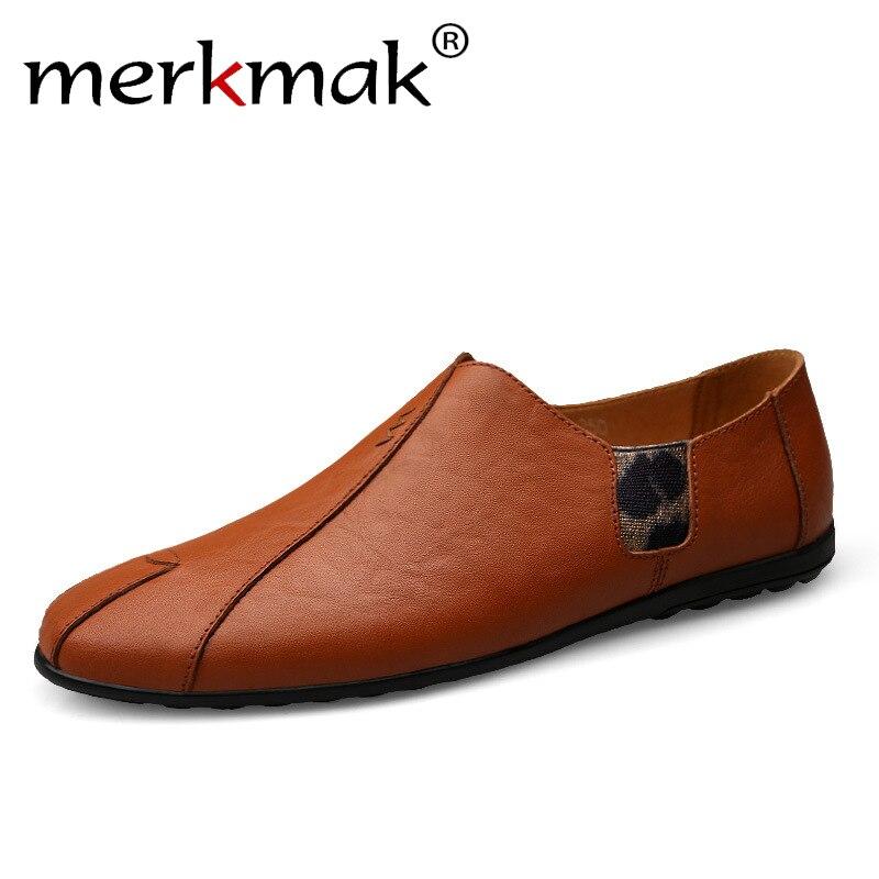 Merkmak, zapatos de verano para hombre, zapatos planos de cuero transpirable para hombre, zapatos de conducción a la moda, zapatos de paseo suaves de calidad para hombre