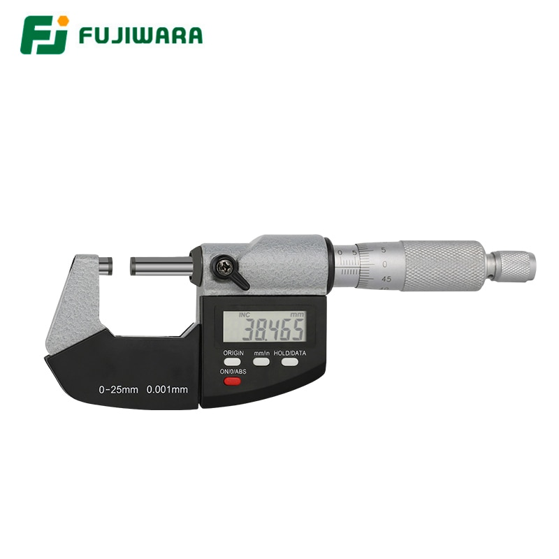 FUJIWARA Digital Industrial micrómetro 0-25mm tornillo micrómetro externo Micrómetro de pinza