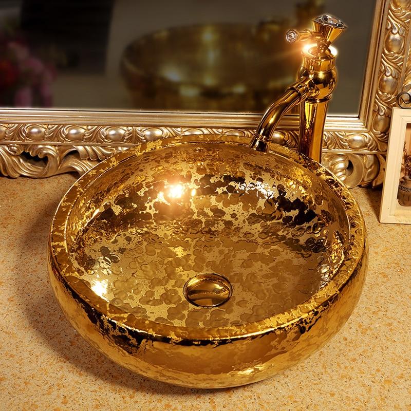 حوض حمام فاخر من الخزف المطلي بالذهب والسيراميك ، شحن مجاني