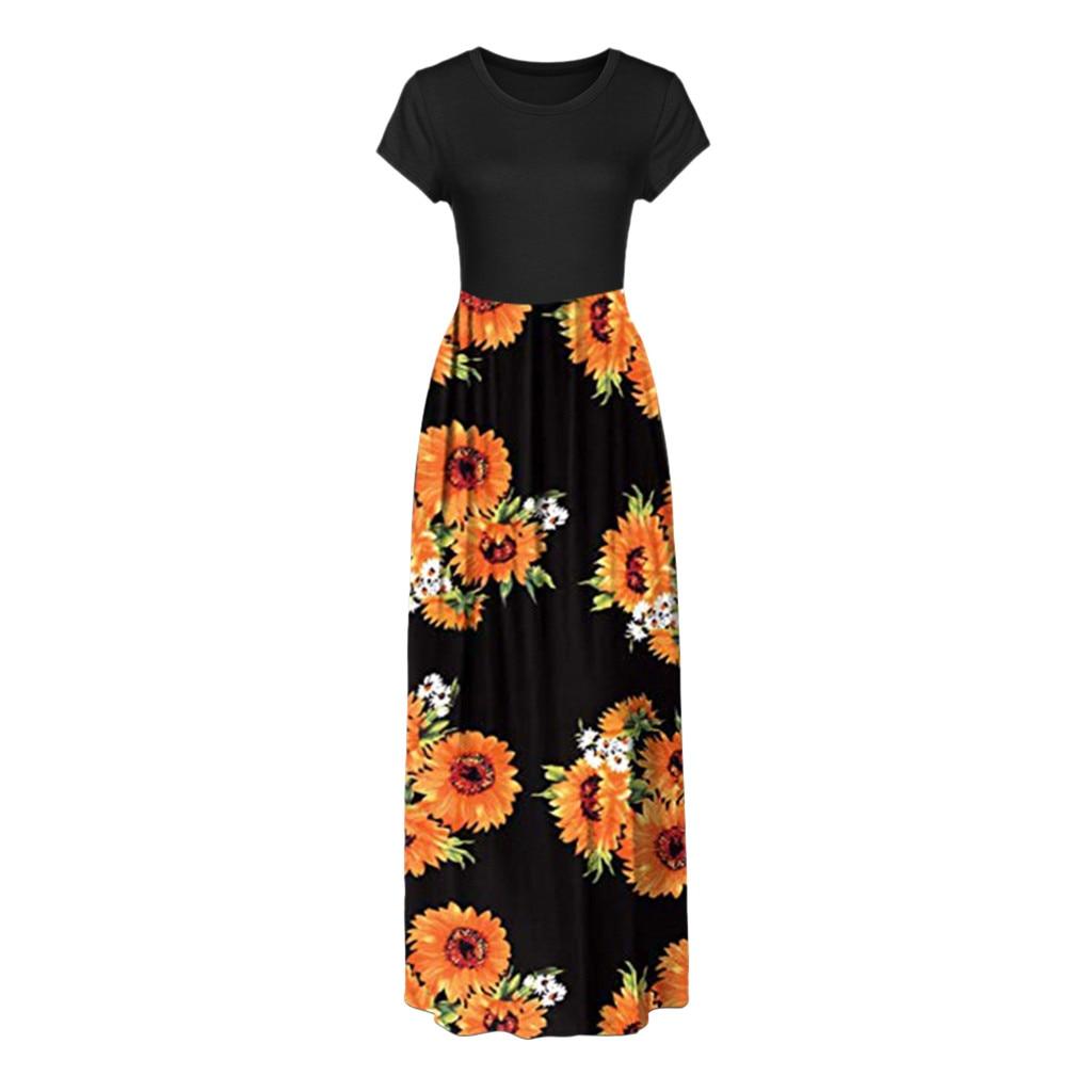 Bohemian Womens Dress Round Neck Short Sleeve Printed Polyester Ground Dress Maxi Tank Long Dress Y522