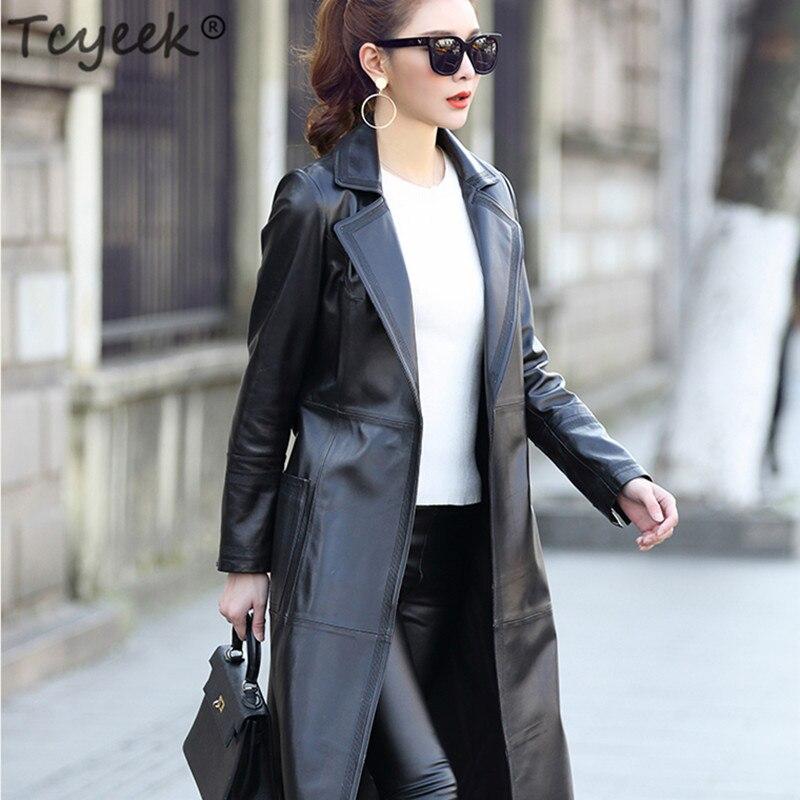 Tcyeek حقيقية سترات من الجلد المرأة طويلة خندق معطف جلد الغنم الطبيعي معطف الإناث الكورية الربيع الخريف الملابس 2020 LWL1455