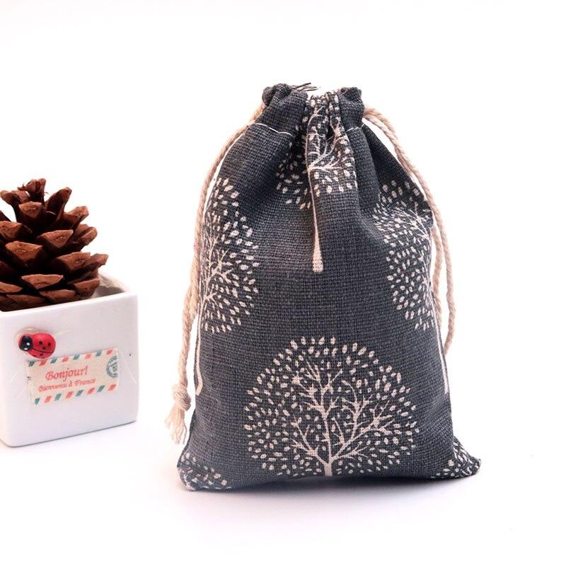 50 unids/lote pequeñas bolsas de algodón 9x12cm bolsa de regalo de lino con cordón, bolsa de muselina, pulsera, joyería de caramelo, bolsas de embalaje, bolsas