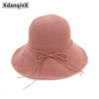 xdanqinx summer womens straw hat foldable straw bow sun hats for women fine hand crochet sunscreen youth female brand beach hat